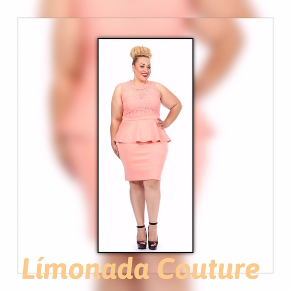 Plus Size Peach Peplum Dress Boutique